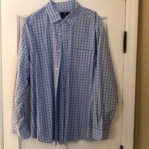 Business casual dress shirt. Blue herring bone